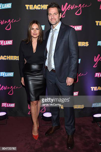 Actors Mariska Hargitay and Peter Hermann attend the Younger Season 2 and Teachers Series Premiere at The NoMad Hotel on January 12 2016 in New York...