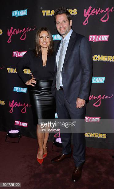 Actors Mariska Hargitay and Peter Hermann attend the 'Younger' season 2 and 'Teachers' series premiere at The NoMad Hotel on January 12 2016 in New...