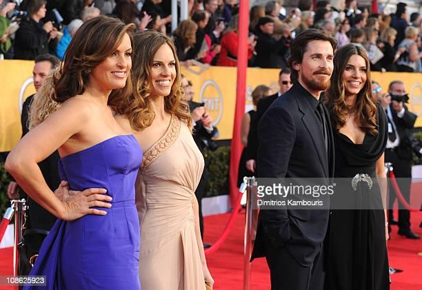 Actors Mariska Hargitay Hilary Swank Christian Bale wife Sibi Blasic Ty Burrell and Tina Fey arrive at the TNT/TBS broadcast of the 17th Annual...