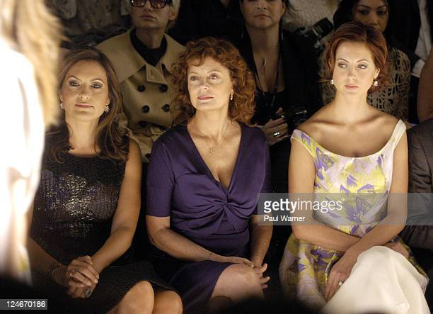 Actors Mariska Hargitay Susan Sarandon and Eva Amurri attend the Lela Rose Spring 2012 fashion show during MercedesBenz Fashion Week at The Studio at...