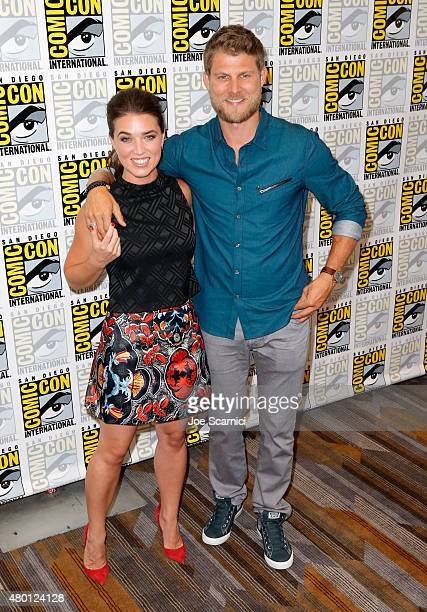 Actors Marissa Neitling and Travis Van Winkle attend The Last Ship press room during TNT at ComicCon International San Diego 2015 on July 9 2015 in...