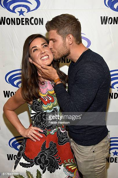 Actors Marissa Neitling and Travis Van Winkle attend 'The Last Ship' panel TNT at Wondercon 2016 at Los Angeles Convention Center on March 26 2016 in...