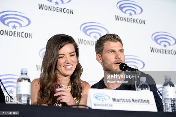 Actors Marissa Neitling and Travis Van Winkle speak on 'The Last Ship' Panel TNT at Wondercon 2016 at Los Angeles Convention Center on March 26 2016...