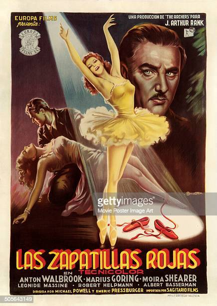 Actors Marius Goring Moira Shearer and Anton Walbrook feature on a Spanish poster for the Archers movie 'The Red Shoes' titled 'Las Zapatillas Rojas'...
