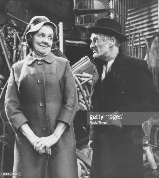 Actors Marjorie Rhodes and Wilfrid Brambell in a scene from episode 'A Box in Town' of the television sitcom 'Steptoe and Son' October 10th 1965