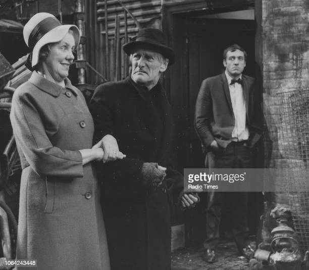Actors Marjorie Rhodes Wilfrid Brambell and Harry H Corbett in a scene from episode 'A Box in Town' of the television sitcom 'Steptoe and Son'...