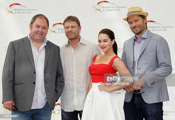 "Actors Mark Addy, Sean Bean, Emilia Clark and Nikolaj Coster Waldau pose during a photocall for the TV show ""Game of thrones"" as part of the 2011..."