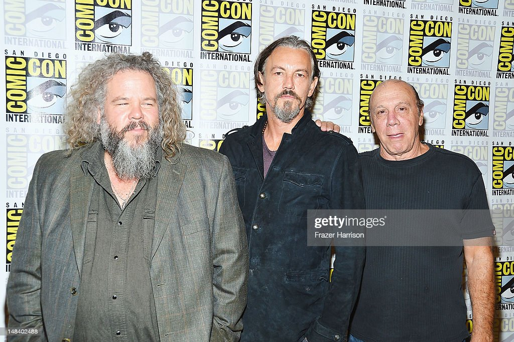 Actors Mark Boone Junior, Tommy Flanagan and Dayton Callie attend 'Sons of Anarchy' press line during Comic-Con International 2012 at Hilton San Diego Bayfront Hotel on July 15, 2012 in San Diego, California.