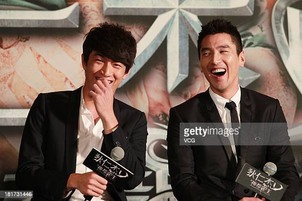 "Actors Mark Chao and Lin Gengxin attend ""Young Detective Dee: Rise of the Sea"" press conference at Kerry Centre Hotel on September 23, 2013 in..."