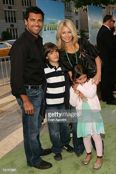Actors Mark Consuelos and Kelly Ripa pose with their children Michael Joseph and Lola Grace at the premiere of Shrek The Third at Clearview Chelsea...