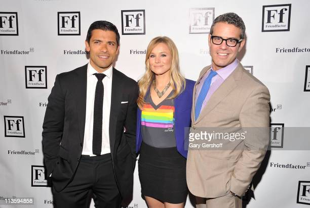 Actors Mark Consuelos and Kristen Bell, and television personality Andy Cohen attend the New York launch of Friendfactor at Lavo on May 3, 2011 in...