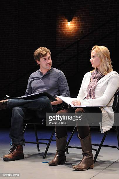 Actors Mark Duplass and Vinessa Shaw perform at the Sundance Institute Los Angeles Screenplay Reading Of Carson Mell's AJAX at The Ivy Substation on...