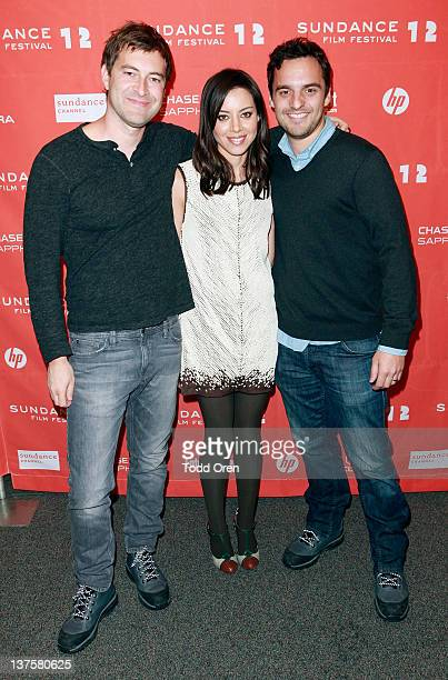 Actors Mark Duplass Aubrey Plaza and Jake Johnson attends the Safety Not Guaranteed premiere during the 2012 Sundance Film Festival held at...