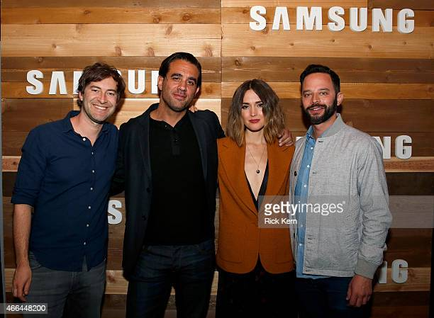 Actors Mark Duplass Bobby Cannavale Rose Byrne and Nick Kroll attend an intimate cocktail party for cast of RADiUS' Adult Beginners hosted by Samsung...