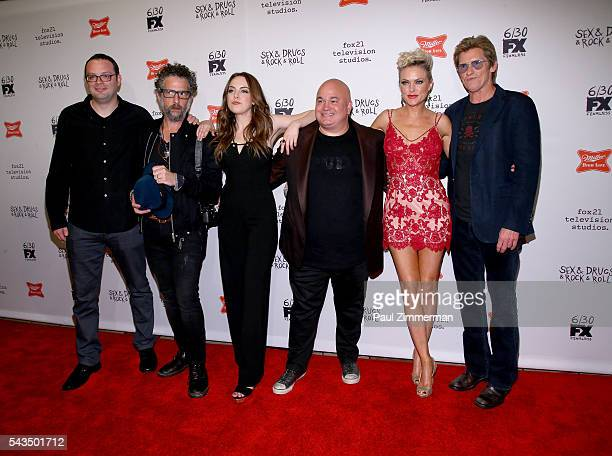 Actors Mark Gessner, John Ales, Elizabeth Gillies, Robert Kelly, Elaine Hendrix and Denis Leary attend the 'Sex&Drugs&Rock&Roll' Season 2 premiere at...