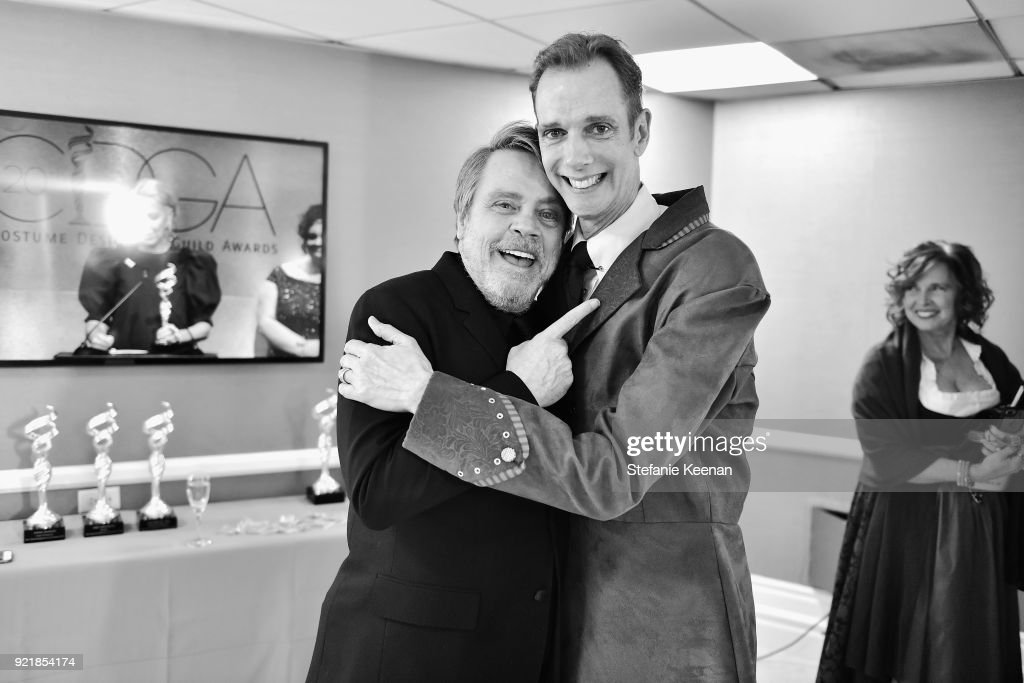 Actors Mark Hamill (L) and Doug Jones attend the Costume Designers Guild Awards at The Beverly Hilton Hotel on February 20, 2018 in Beverly Hills, California.
