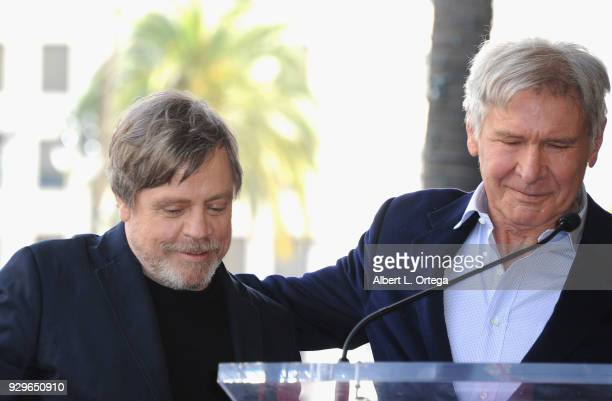 Actors Mark Hamill and Harrison Ford participate in the Mark Hamill Star Ceremony held On The Hollywood Walk Of Fame on March 8 2018 in Hollywood...