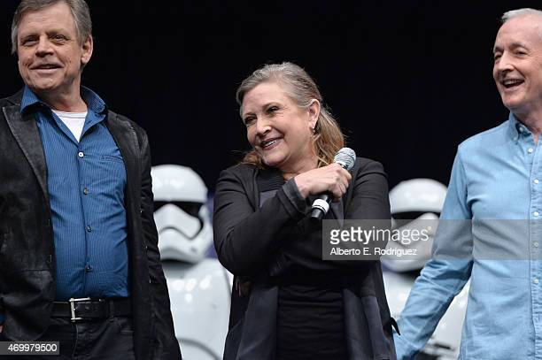 Actors Mark Hamill, Carrie Fisher and Anthony Daniels speak onstage during Star Wars Celebration 2015 on April 16, 2015 in Anaheim, California.