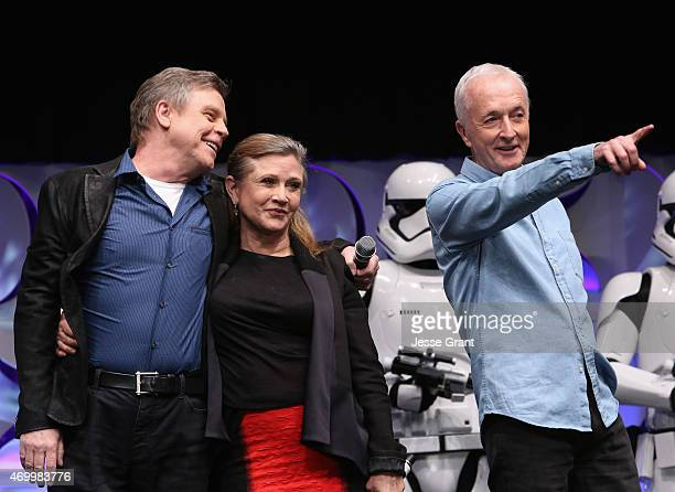 Actors Mark Hamill Carrie Fisher and Anthony Daniels speak onstage during Star Wars Celebration 2015 on April 16 2015 in Anaheim California
