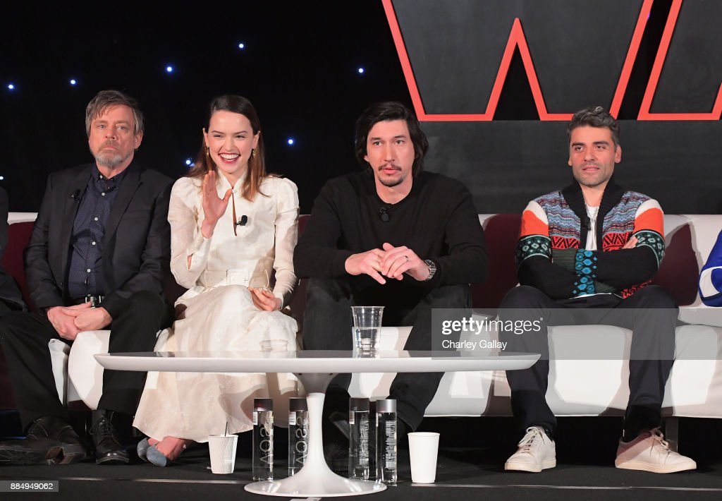 Actors Mark Hamill, Daisy Ridley, Adam Driver and Oscar Isaac attend the press conference for the highly anticipated Star Wars: The Last Jedi at InterContinental Los Angeles on December 3, 2017 in Los Angeles, California.