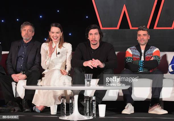 Actors Mark Hamill Daisy Ridley Adam Driver and Oscar Isaac attend the press conference for the highly anticipated Star Wars The Last Jedi at...