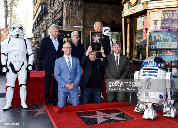 Actors Mark Hamill Harrison Ford and director George Lucas attend the ceremony honoring Mark Hamill with star on the Hollywood Walk of Fame on March...