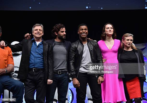 Actors Mark Hamill Oscar Isaac John Boyega Daisy Ridley and Carrie Fisher speak onstage during Star Wars Celebration 2015 on April 16 2015 in Anaheim...
