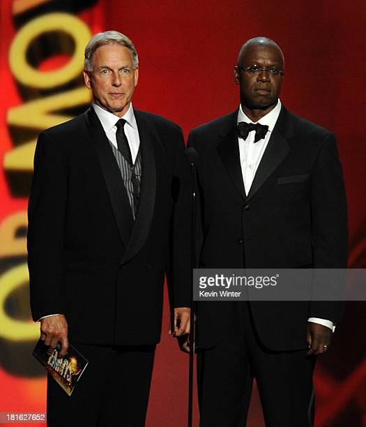 Actors Mark Harmon and Andre Braugher speak onstage during the 65th Annual Primetime Emmy Awards held at Nokia Theatre LA Live on September 22 2013...