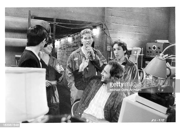 Actors Mark Kamiyama Michelle Meyrink Val Kilmer Gabe Jarret and Jonathan Gries on the set of the Tri Star Pictures movie 'Real Genius' in 1985