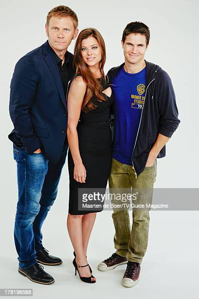 Actors Mark Pellegrino Peyton List and Robbie Amell are photographed for TV Guide Magazine on July 20 2013 on the TV Guide Magazine Yacht in San...
