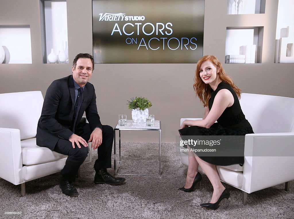 Actors Mark Ruffalo (L) and Jessica Chastain attend day one of Variety Studio: Actors On Actors presented by Samsung Galaxy on November 8, 2014 in Los Angeles, California.