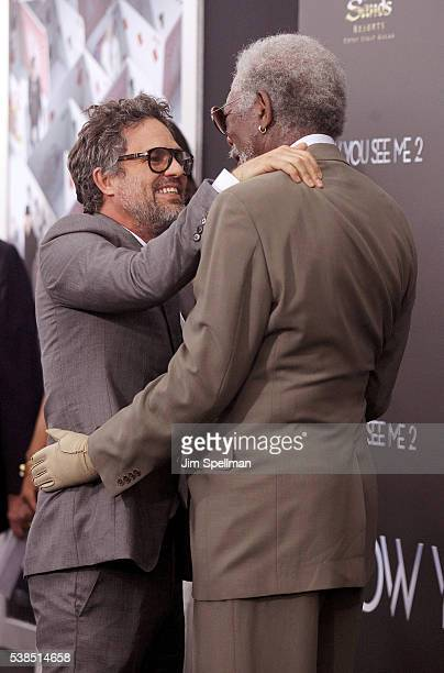 Actors Mark Ruffalo and Morgan Freeman attend the Now You See Me 2 world premiere at AMC Loews Lincoln Square 13 theater on June 6 2016 in New York...