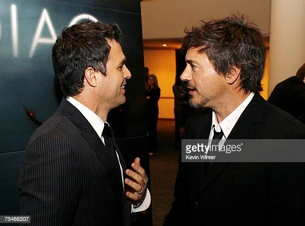 Actors Mark Ruffalo and Robert Downey Jr talk at the premiere of Paramount Picture's Zodiac at the Paramount Theatre on March 1 2007 in Los Angeles...