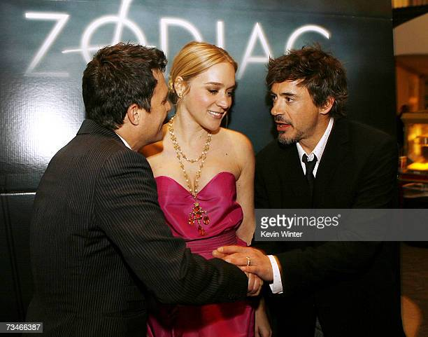 Actors Mark Ruffalo Chloe Sevigny and Robert Downey Jr talk at the premiere of Paramount Picture's Zodiac at the Paramount Theatre on March 1 2007 in...
