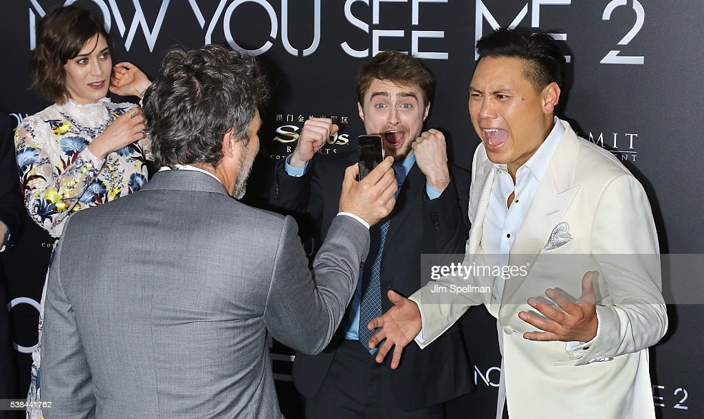 Actors Mark Ruffalo, Daniel Radcliffe and Director Jon M. Chu attend the 'Now You See Me 2' world premiere at AMC Loews Lincoln Square 13 theater on June 6, 2016 in New York City.