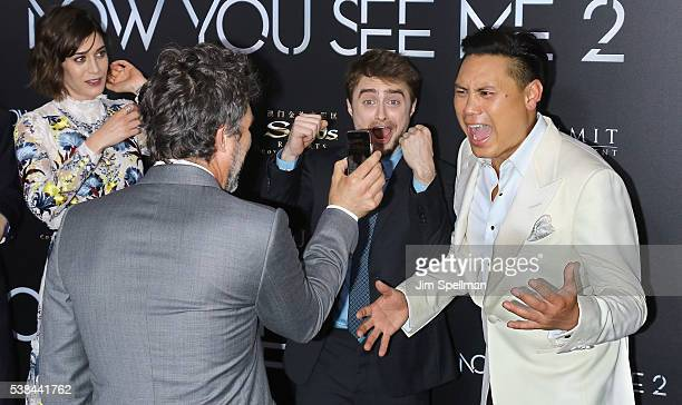 Actors Mark Ruffalo Daniel Radcliffe and Director Jon M Chu attend the Now You See Me 2 world premiere at AMC Loews Lincoln Square 13 theater on June...