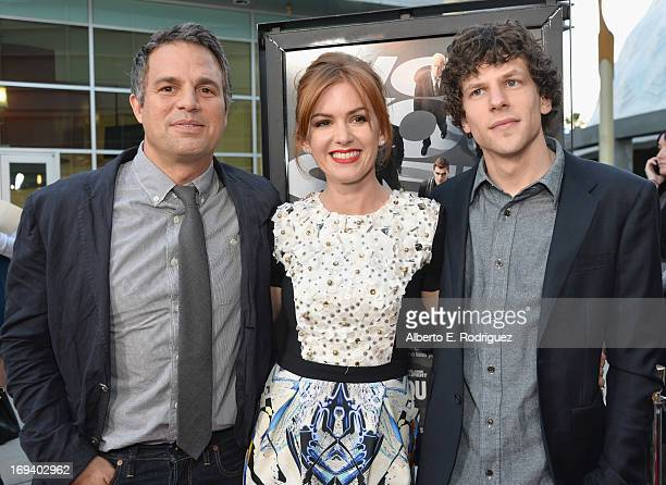 Actors Mark Ruffalo Isla Fisher and Jesse Eisenberg attend a special screening of Summit Entertainment's Now You See Me at the ArcLight Theaters...