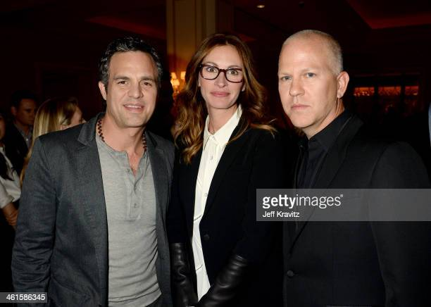 Actors Mark Ruffalo Julia Roberts and writer/executive producer Ryan Murphy attend the HBO Winter 2014 TCA Panel at The Langham Huntington Hotel and...
