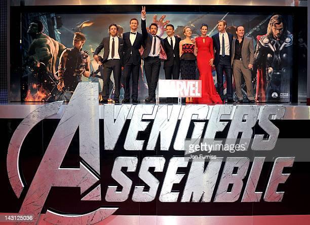 Actors Mark Ruffalo, Tom Hiddleston, Robert Downey Jr, Jeremy Renner, Scarlett Johansson, Cobie Smulders, Chris Hemsworth and Clark Gregg attend the...