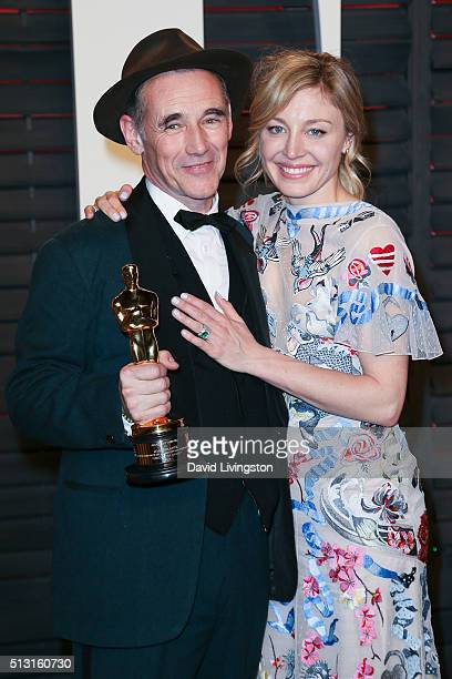 Actors Mark Rylance and Juliet Rylance arrive at the 2016 Vanity Fair Oscar Party Hosted by Graydon Carter at the Wallis Annenberg Center for the...