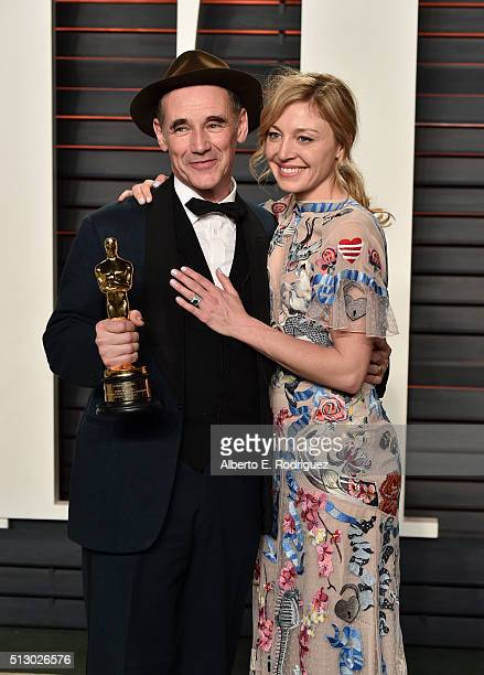 Actors Mark Rylance and Juliet Rylance attend the 2016 Vanity Fair Oscar Party hosted By Graydon Carter at Wallis Annenberg Center for the Performing...