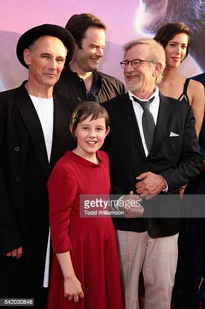 """Actors Mark Rylance, Ruby Barnhill, Bill Hader, director/producer Steven Spielberg and actress Rebecca Hall attend Disney's """"The BFG"""" premiere at the..."""