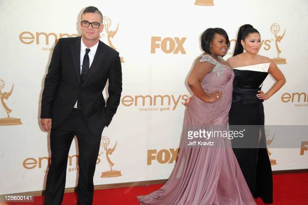 Actors Mark Salling Amber Riley and Jenna Ushkowitz arrive at the 63rd Primetime Emmy Awards at Nokia Theatre LA Live on September 18 2011 in Los...