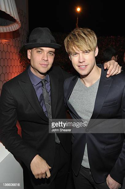 Actors Mark Salling and Chord Overstreet attend the Kick Off for Golden Globes Week 2012 hosted by Audi and Martin Katz at Cecconi's Restaurant on...
