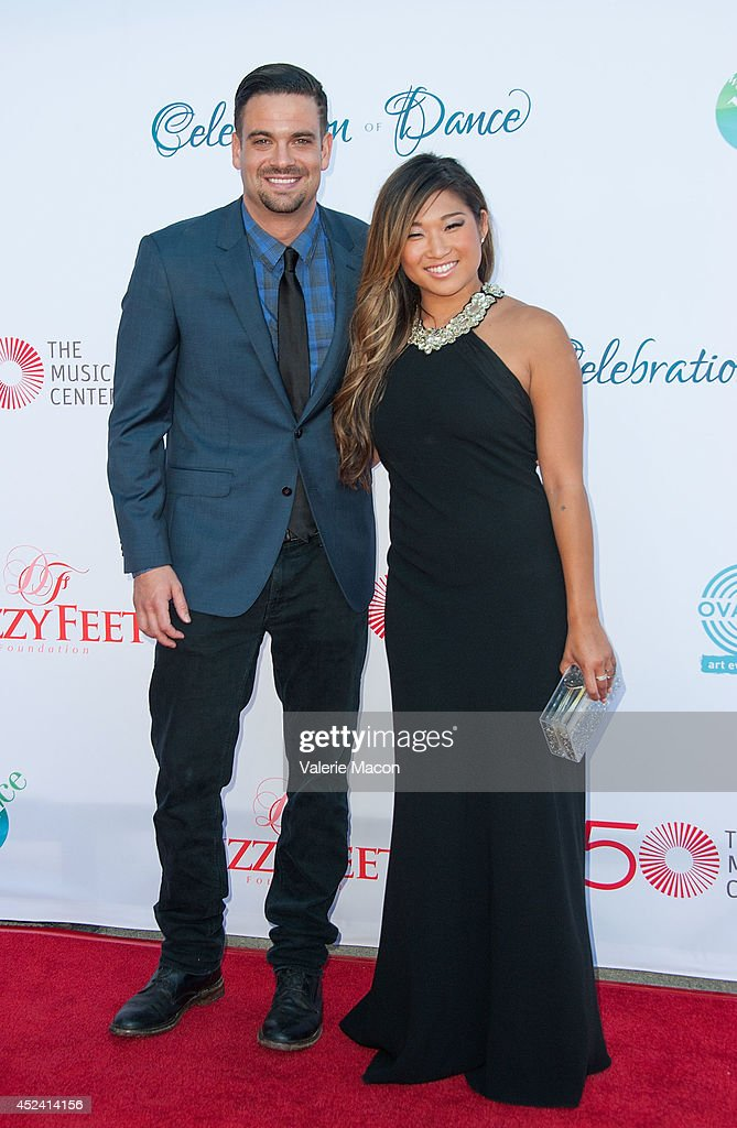 Actors Mark Salling (L) and Jenna Ushkowitz arrive at the 4th Annual Celebration Of Dance Gala Presented By The Dizzy Feet Foundation at Dorothy Chandler Pavilion on July 19, 2014 in Los Angeles, California.