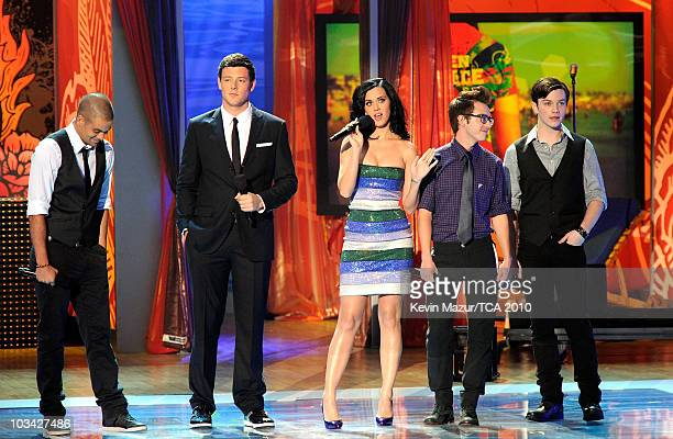 Actors Mark Salling Cory Monteith Host Katy Perry actors Kevin McHale and Chris Colfer speak onstage during the 2010 Teen Choice Awards at Gibson...