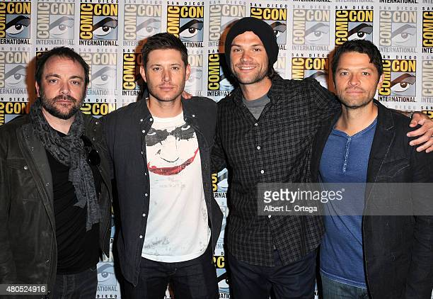 Actors Mark Sheppard Jensen Ackles Jared Padalecki and Misha Collins attend the Supernatural panel during ComicCon International 2015 at the San...