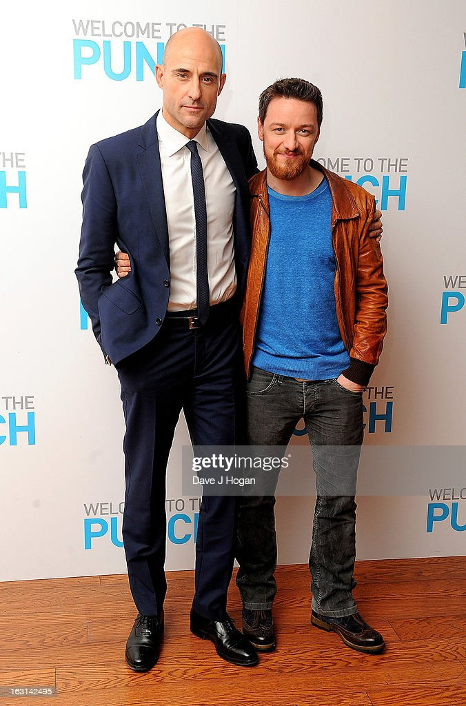 Actors Mark Strong and James McAvoy attend the 'Welcome To The Punch' UK Premiere at the Vue West End on March 5, 2013 in London, England.