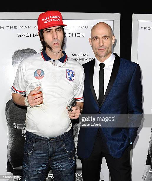 Actors Mark Strong and Sacha Baron Cohen attend the premiere of 'The Brothers Grimsby' at Regency Village Theatre on March 3 2016 in Westwood...