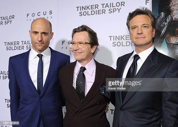 """Actors Mark Strong, Gary Oldman and Colin Firth arrive at the premiere of Focus Features' """"Tinker, Tailor, Soldier, Spy"""" at Arclight Cinema's..."""